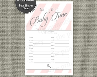 Name that Baby Tune Baby Shower Game | 10 Baby Songs Game | Pink White Stripe with Silver Glitter Lettering Design | Calligraphy IAG-133G