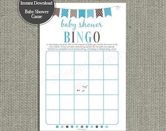 BINGO Baby Shower Game | Bingo with Shower Gifts| Blue Sheep | Blue Bunting | Instant Download | BBM-133C