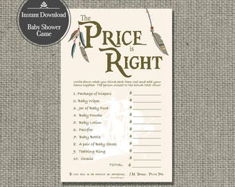 "Printable  ""The Price is Right"" Baby Shower Game 