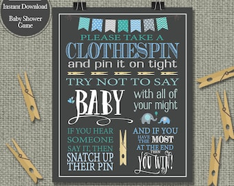 "Printable  ""Clothespin "" Baby Shower Game 