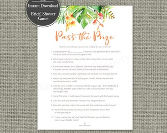 "Printable  ""Pass the Prize"" Shower Game 