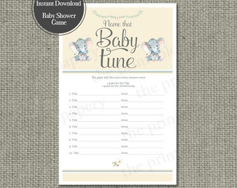 Name that Baby Tune Baby Shower Game | 10 Baby Songs Game | Elephant | Yellow with Gray Lettering Design | Calligraphy IEL-133G