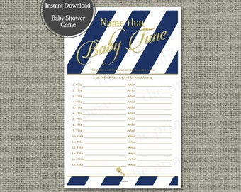 Name that Baby Tune Baby Shower Game | Baby Songs Game | Navy White Stripe with Gold Glitter Lettering Design | Calligraphy IAG-133GS15