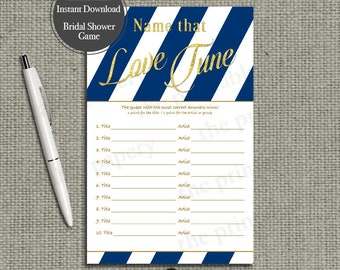 Name that Love Tune Shower Game | Bridal Shower Game | Navy Blue White Stripe with Gold Glitter Lettering Design | Calligraphy LV-133G