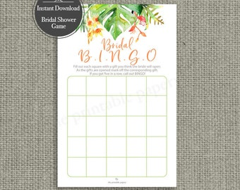 B I N G O Bridal Shower Game | INSTANT DOWNLOAD | Bingo Shower Gifts| Tropical Watercolor Design | TR-113C