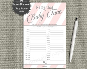 Name that Baby Tune Baby Shower Game | 15 Baby Songs Game | Pink White Stripe with Gold Glitter Lettering Design | Calligraphy IAG-133G