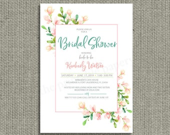 Printable Watercolor Pink Flower Bridal Shower Invitation Card | Teal and Peach Design | Customize | HN1-1 Bridal