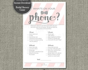 "Printable  ""What's on Your Phone?"" Bridal Shower Game 