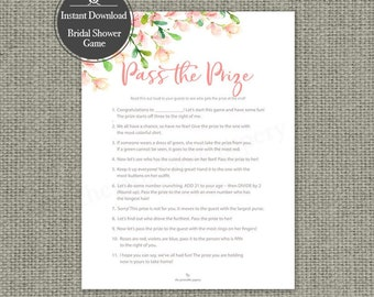 "Printable  ""Pass the Prize"" Bride Shower Game 