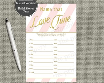 Name that Love Tune Bridal Shower Game | Love Songs Game | Pink White Stripe with Gold Glitter Lettering Design | Calligraphy LV-133GL
