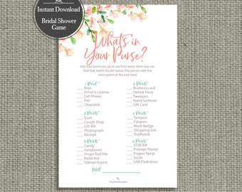 """Printable """"What's in Your Purse?"""" Bridal Shower Game 
