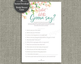 What Did The Groom Say Bridal Shower Game | INSTANT DOWNLOAD | Rose Watercolor Design | HN-133R