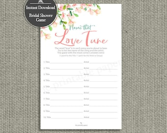 Name that Love Tune Bridal Shower Game | Love Songs Game | Rose Watercolor Design | Calligraphy HN-133G