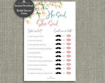 He Said, She Said Bridal Shower Game | INSTANT DOWNLOAD | Rose Watercolor Design | HN-133S