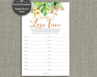 Name that Love Tune Bridal Shower Game | Love Songs Game | Tropical Watercolor with Orange Lettering Design | Calligraphy TR-133G Tunes