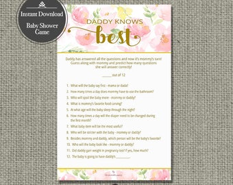"Printable  ""Daddy Knows Best "" Baby Shower Game 