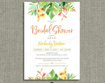 Printable Tropical Watercolor Bridal Shower Invitation Card | Tropical Leaf Design | Customize | DIY | TR1 Bridal