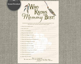 """Printable  """"Who Know Mommy Best"""" Baby Shower Game 
