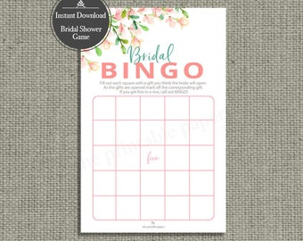 B I N G O Bridal Shower Game | INSTANT DOWNLOAD | Bingo Shower Gifts | Rose Watercolor Design | HN-133C