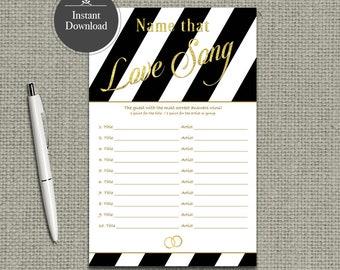 Name that Love Song Bridal Shower Game | Love Songs Game | Black White Stripe with Gold Glitter Lettering Design | Calligraphy LV2-133GL
