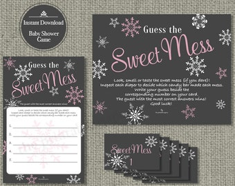 Guess the Mess | Diaper Mess Game | Gray White Snowflake with Pink Lettering Design | Calligraphy I SFP-133O