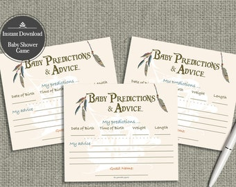 Baby Predictions & Advice for Mom Cards | Baby Shower Game| Peter Pan | Feathers Arrows Neverland Theme Typography |  NVR-133ef