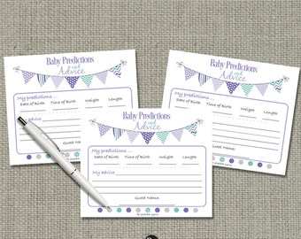 Baby Predictions & Advice for Mom Cards | Baby Shower Game| Purple Teal Bunting Banner Elephant Design |bal|  BBE5-133ef