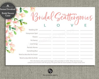 Scattergories Bridal Shower Game | INSTANT DOWNLOAD | Vocabulary Game | Rose Watercolor Design | HN-113N