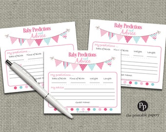Baby Predictions & Advice for Mom Cards | Baby Shower Game| Pink Orange Bunting Banner Elephant Design |bal|  BBE-133ef