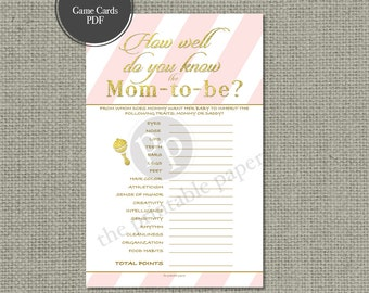 "Printable  ""How Well Do You Know the Mom-to-be?"" Baby Shower Game 