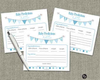Baby Predictions & Advice for Mom Cards | Baby Shower Game| Blue Green Bunting Banner Elephant Design |bal|  BBM-133ef