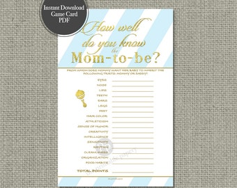 """Printable  """"How Well Do You Know the Mom-to-be?"""" Baby Shower Game 