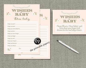 "Printable  ""Wishes for Baby"" Baby Shower Game 