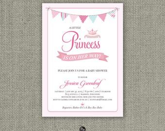 Printable Princess Baby Shower Invitation Card | Digital Download |  Crown  Bunting Banner Design | DIY - No. PR1-1