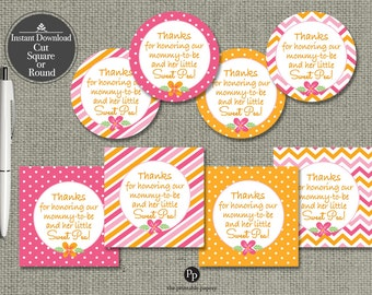 Baby Shower Gift Tags | INSTANT DOWNLOAD | Round or Square Favor Tags | No. BBL-133K