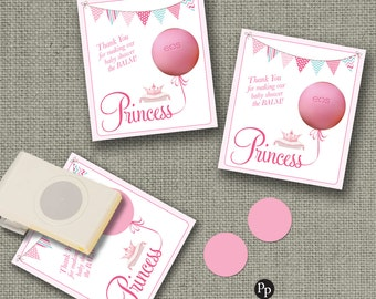 Baby Shower Gift Tags for EOS lip balm gifts | Princess Design Thank You Favor Tags | No. PR1-EOS