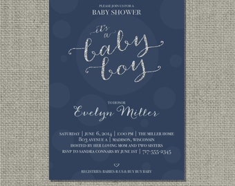 """Printable Blue & Silver Glitter Baby Shower Invitation Card 
