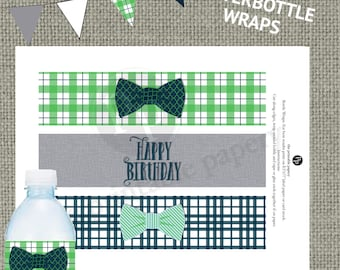 Printable Birthday Party Water Bottle Wrappers / Labels | BowTie Boy | Navy Green Plaid | Our Little Man Design | Instant Download | OLM-WB