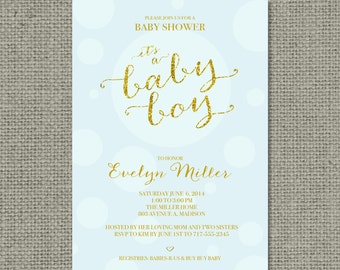 """Printable Blue & Gold Glitter Baby Shower Invitation Card 