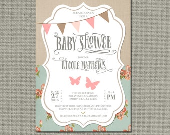 Printable Baby Shower Invitation Card | Shabby Chic Rustic Butterfly Bunting Design | Floral Linen Vintage | Customize | DIY - No. SBL1-1