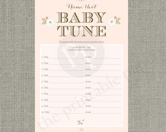 """Printable  """"Name that Baby Tune"""" Baby Shower Game 