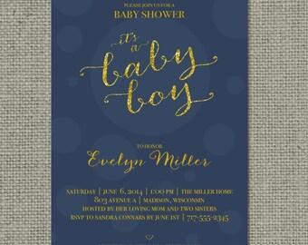 "Printable Blue & Gold Glitter Baby Shower Invitation Card | Digital Download | ""It's a Baby Boy"" Design | Customize | DIY - No. BBR1-1"