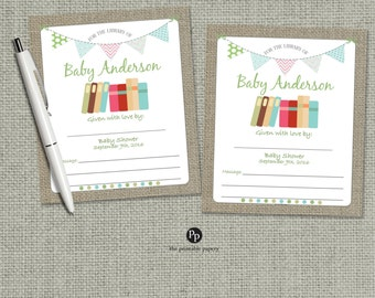 Book Plate | Personalized Name & Shower Date Book Plate |  Customize Library Book Design | Rustic Shabby Chic | Burlap PAG | No. BP4-400