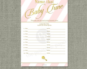 Name that Baby Tune Baby Shower Game | Baby Songs Game | Pink White Stripe with Gold Glitter Lettering Design | Calligraphy IAG-133G