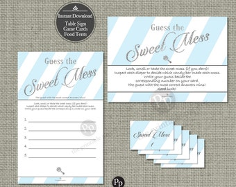 Guess the Mess | Diaper Mess Game | Instant Download | Blue White Stripe with Silver Glitter and Lettering Design | Calligraphy IAB-133O