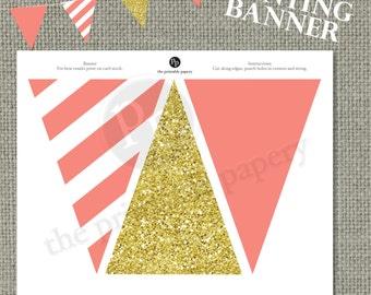 Printable Bunting Banner | Pink Stripes & Gold Glitter Decor | Instant Download | DIY | No. BAN-122