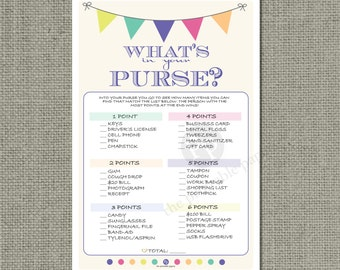 """Printable  """"What's in Your Purse?"""" Baby Shower Game 