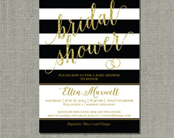Printable Black & White Stripes with Gold Glitter Bridal Shower Invitation | Stripe and Calligraphy Design | Customize | DIY - No. SARR3-3