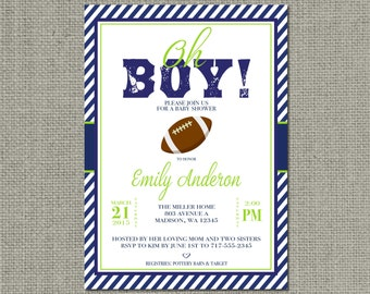 Printable Football Sports Baby Shower Invitation Card | Oh Boy! | Football  Design | Customize | DIY - No. BBF1-1