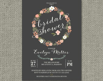 Printable Bridal Shower Invitation Card | Flower Wreath, Chalkboard and Calligraphy Design | Customize | DIY - No. BFR5-5